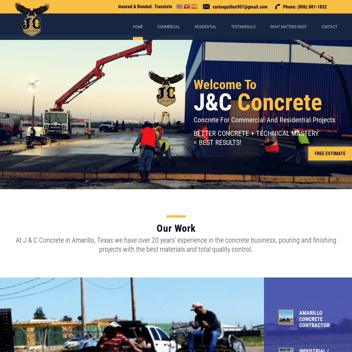 J & C Concrete - Amarillo, TX - Commercial – Agricultural – Residential