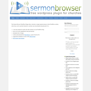 Sermon Browser Plugin for WordPress - WordPress plugin that allows you to upload sermons to your site, where they can be searche