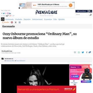 """Ozzy Osbourne promociona """"Ordinary Man"""", su nuevo álbum de estudio – Prensa Libre"""