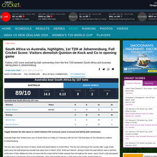 ArchiveBay.com - www.firstpost.com/firstcricket/sports-news/south-africa-vs-australia-live-cricket-score-1st-t20i-at-johannesburg-8072301.html - South Africa vs Australia, highlights, 1st T20I at Johannesburg, Full Cricket Score- Visitors demolish Quinton de Kock and Co in