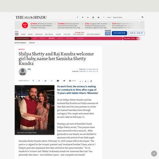 ArchiveBay.com - www.thehindu.com/entertainment/movies/shilpa-shetty-and-raj-kundra-welcome-girl-baby-name-her-samisha-shetty-kundra/article30879923.ece - Shilpa Shetty and Raj Kundra welcome girl baby, name her Samisha Shetty Kundra - The Hindu