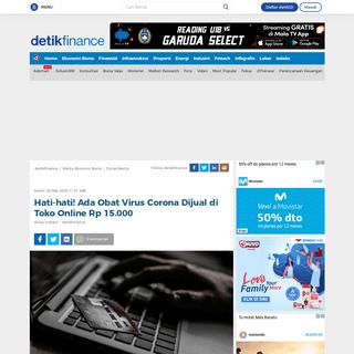 Hati-hati! Ada Obat Virus Corona Dijual di Toko Online Rp 15.000