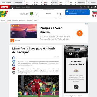 Norwich City vs. Liverpool - Reporte del Partido - 15 febrero, 2020 - ESPN