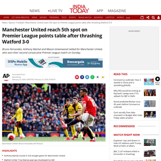 ArchiveBay.com - www.indiatoday.in/sports/football/story/manchester-united-vs-watford-premier-league-reach-5th-spot-on-premier-league-points-table-after-thrashing-watford-3-0-tottenham-1649310-2020-02-23 - Manchester United reach 5th spot on Premier League points table after thrashing Watford 3-0 - Sports News
