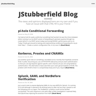 JStubberfield Blog - The views and opinions displayed here are my own and if you have an issue with that CTRL+W is your friend