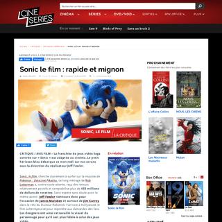 Critique de Sonic le film (Film, 2020) — CinéSéries