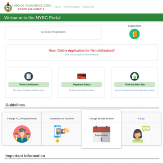 Welcome to The NYSC Portal