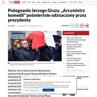 ArchiveBay.com - www.tvp.info/46763894/pozegnanie-jerzego-gruzy-arcymistrz-komedii-posmiertnie-odznaczony-przez-prezydenta - Pogrzeb Jerzego Gruzy wieszwiecej - tvp.info