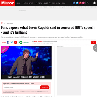 Fans expose what Lewis Capaldi said in censored BRITs speech - and it's brilliant - Mirror Online