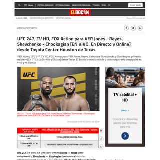 ▷ UFC 247 [Ver-HD] [EN VIVO] Jones, Reyes, Valentina Shevchenko y Chookagian - Cómo ver aquí peleas GRATIS, En Directo y Onl