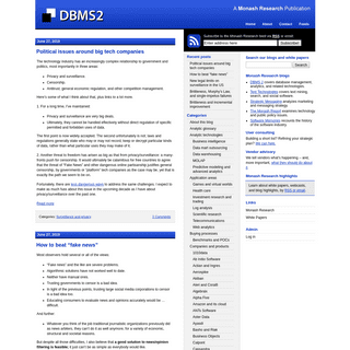 DBMS 2 - Database management and analytic technologies in a changing world