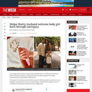 ArchiveBay.com - www.theweek.in/news/entertainment/2020/02/21/shilpa-shetty-husband-welcome-baby-girl-born-through-surrogacy.html - Shilpa Shetty, husband welcome baby girl born through surrogacy - The Week