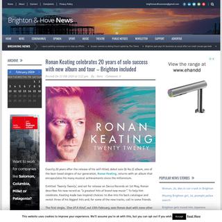 ArchiveBay.com - www.brightonandhovenews.org/2020/02/15/ronan-keating-celebrates-20-years-of-solo-success-with-new-album-and-tour-brighton-included/ - Brighton and Hove News » Ronan Keating celebrates 20 years of solo success with new album and tour – Brighton included