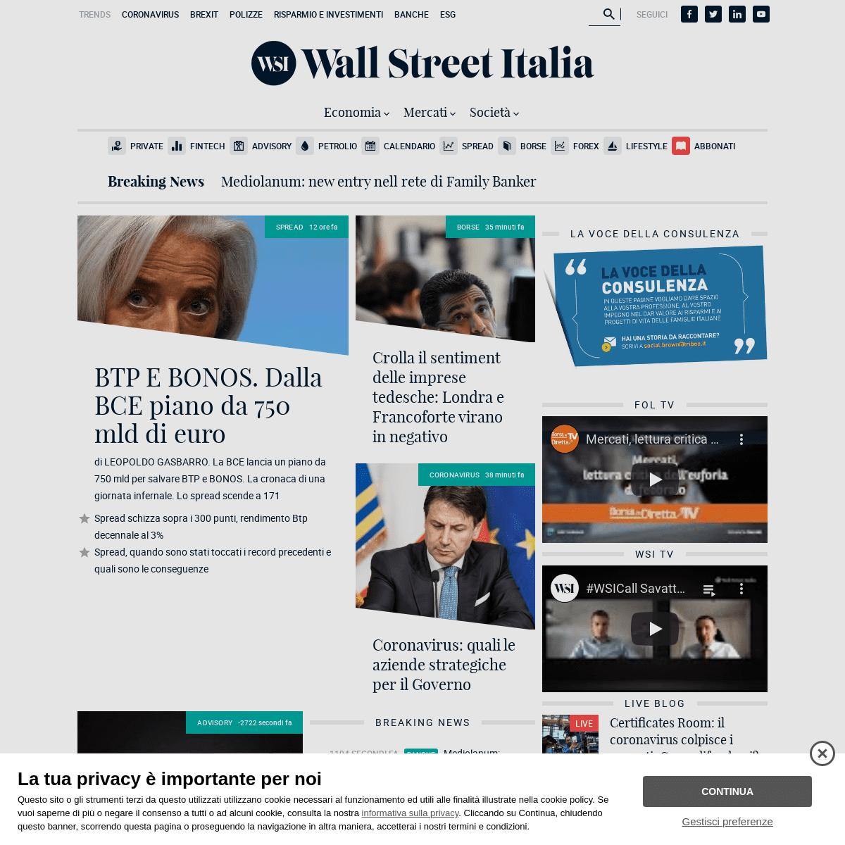 News su Economia, Finanza e Borsa - Wall Street Italia