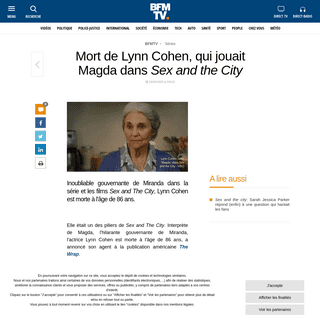 Mort de Lynn Cohen, qui jouait Magda dans Sex and the City