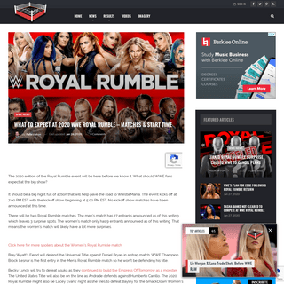 What To Expect At 2020 WWE Royal Rumble - Matches & Start Time