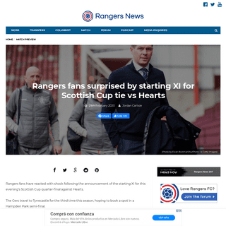 Rangers fans surprised by starting XI for Scottish Cup tie vs Hearts