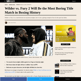 Wilder vs. Fury 2 Will Be the Most Boring Title Match in Boxing History