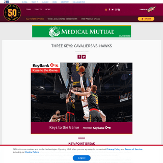 Three Keys- Cavaliers vs. Hawks - Cleveland Cavaliers
