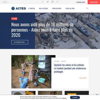 ACTED - Agir aujourd'hui I Investir pour demain