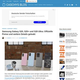 Samsung Galaxy S20, S20+ und S20 Ultra- Offizielle Preise und weitere Details geleakt