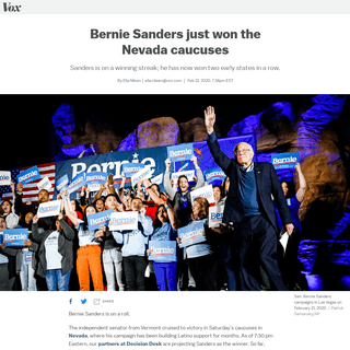 Bernie Sanders wins Nevada caucuses, defeating Joe Biden - Vox