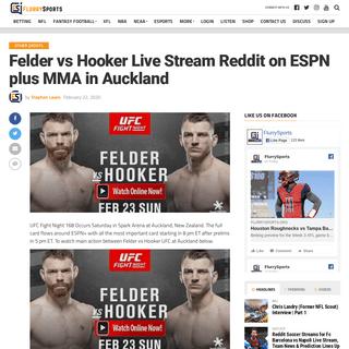 Felder vs Hooker Live Stream Reddit on ESPN plus MMA in Auckland