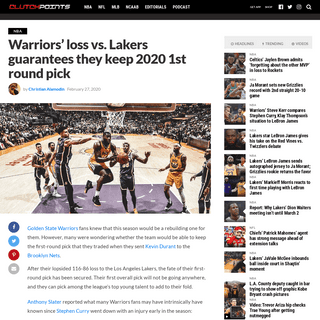 Warriors news- Dubs loss vs. Lakers guarantees they keep 2020 1st round pick