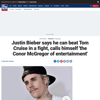 Justin Bieber says he can beat Tom Cruise in a fight, calls himself 'the Conor McGregor of entertainment' - Fox News