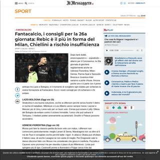 ArchiveBay.com - www.ilmessaggero.it/sport/calcio/fantacalcio_consigli_la_26a_giornata_rebic_piu_forma_milan_chiellini_rischio_insufficienza-5082411.html - Fantacalcio, i consigli per la 26a giornata- Rebic è il più in forma del Milan, Chiellini a rischio insufficienza