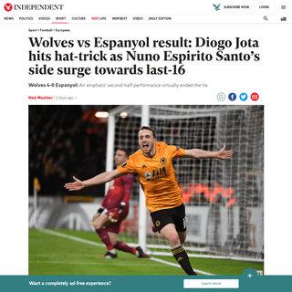 Wolves vs Espanyol result- Diogo Jota hits hat-trick as Nuno Espirito Santo's side surge towards last-16 - The Independent