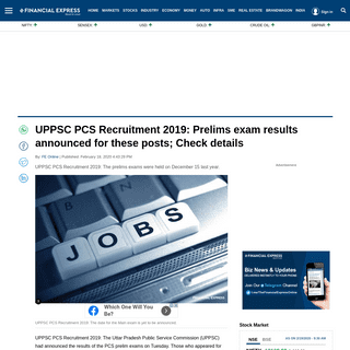 UPPSC PCS Recruitment 2019- Prelims exam results announced for these posts; Check details - The Financial Express