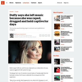 Duffy says she left music because she was raped, drugged and held captive for days - inews