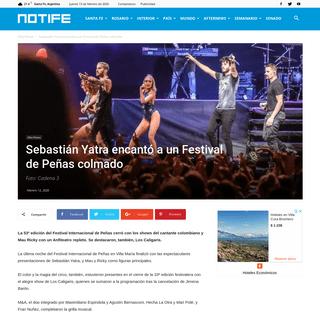 Sebastián Yatra encantó a un Festival de Peñas colmado - Notife