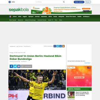 Dortmund Vs Union Berlin- Haaland Bikin Rekor Bundesliga