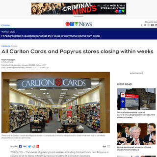 All Carlton Cards and Papyrus stores closing within weeks - CTV News