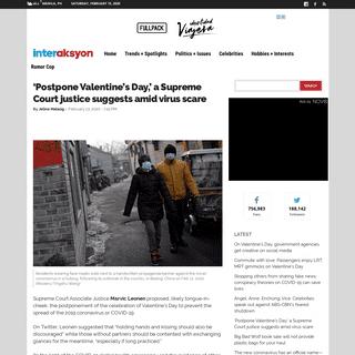 ArchiveBay.com - www.interaksyon.com/trends-spotlights/2020/02/13/162140/postpone-valentines-day-coronavirus-covid19/ - 'Postpone Valentine's Day,' a Supreme Court justice suggests amid virus scare