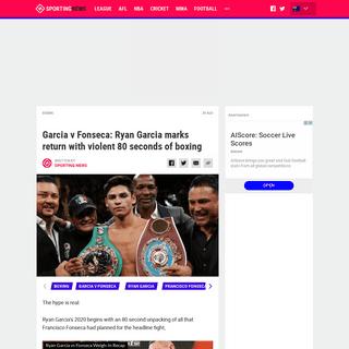 ArchiveBay.com - www.sportingnews.com/au/boxing/news/ryan-garcia-francisco-fonseca-knockout-video-highlights/1bldie80lu7ws120jvn5i8apm1 - Garcia v Fonseca- Ryan Garcia marks return with violent 80 seconds of boxing - Sporting News Australia