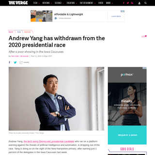ArchiveBay.com - www.theverge.com/2020/2/11/21134021/andrew-yang-drops-out-2020-presidential-race-democratic - Andrew Yang has withdrawn from the 2020 presidential race - The Verge