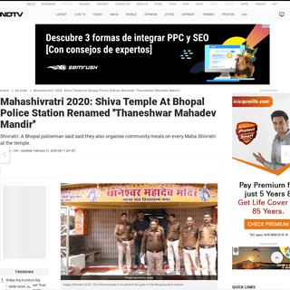 ArchiveBay.com - www.ndtv.com/india-news/mahashivratri-2020-lord-shiva-temple-at-bhopal-police-station-renamed-thaneshwar-mahadev-mandir-2183437 - Mahashivratri 2020- Lord Shiva Temple At Bhopal Police Station Renamed ''Thaneshwar Mahadev Mandir''