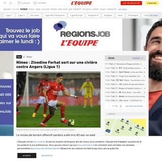 Nîmes- Zinedine Ferhat sort sur une civière contre Angers (Ligue1) - Foot - L1 - Nîmes - L'Équipe