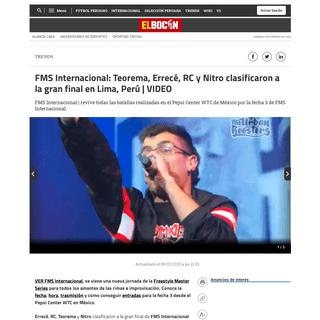 FMS Internacional- Teorema, Errecé, RC y Nitro clasificaron a la gran final en Lima, Perú - VIDEO Trends - El Bocón