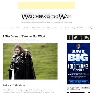 Watchers on the Wall - A Game of Thrones Community for Breaking News, Casting, and Commentary -