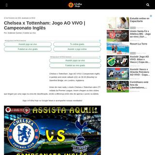 Chelsea x Tottenham- Jogo AO VIVO - Campeonato Inglês - A Folha Hoje – Notícias e informações com credibilidade