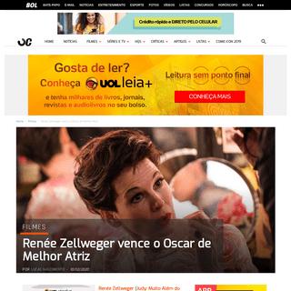 Renée Zellweger vence o Oscar de Melhor Atriz