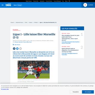 Ligue 1 - Lille laisse filer Marseille (2-1)