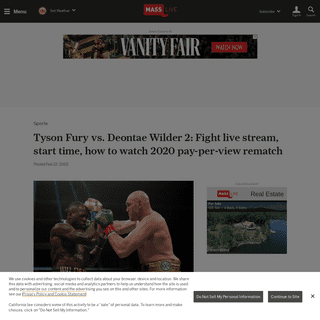 Tyson Fury vs. Deontae Wilder 2- Fight live stream, start time, how to watch 2020 pay-per-view rematch - masslive.com