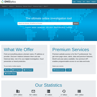 Online investigation tool - Reverse IP, NS, MX, WHOIS and Search Tools