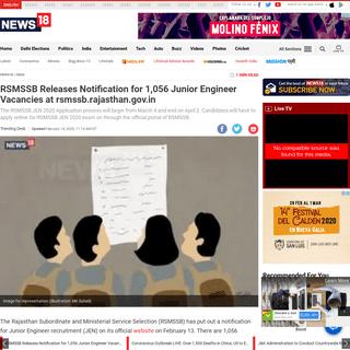 RSMSSB Releases Notification for 1,056 Junior Engineer Vacancies at rsmssb.rajasthan.gov.in - News18