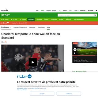 Charleroi remporte le choc Wallon face au Standard